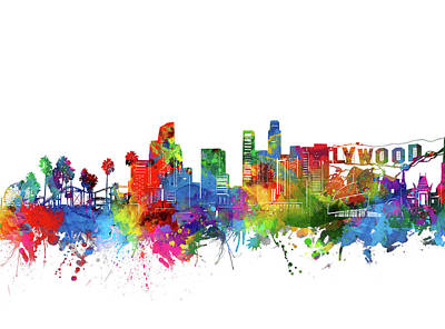 Skylines Royalty-Free and Rights-Managed Images - Los Angeles Skyline Watercolor by Bekim Art