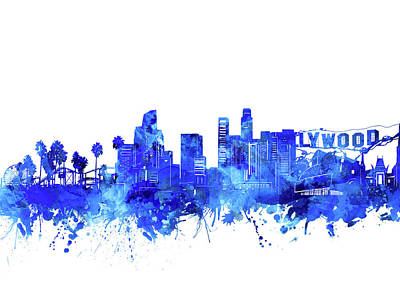 Skylines Royalty-Free and Rights-Managed Images - Los Angeles Skyline Watercolor Blue by Bekim Art