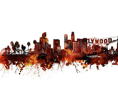Skylines Royalty-Free and Rights-Managed Images - Los Angeles Skyline Watercolor Brown by Bekim Art