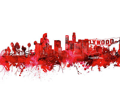 Skylines Royalty-Free and Rights-Managed Images - Los Angeles Skyline Watercolor Red by Bekim Art