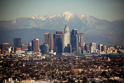 Cityscapes Photograph - Los Angeles Skyline With Snow Capped by Sterling Davis Photo