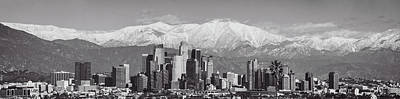 Photograph - Los Angeles Snow Panorama In Black And White by Lynn Bauer