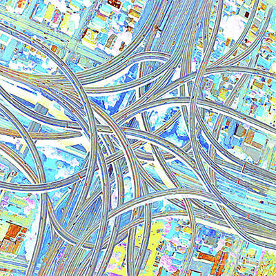 Photograph - Los Angeles Spaghetti Freeway Abstract Art 20180925 V2 by Wingsdomain Art and Photography