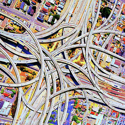 Photograph - Los Angeles Spaghetti Freeway Abstract Art 20180925 by Wingsdomain Art and Photography