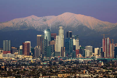 Photograph - Los Angeles With Snow Capped Mts by Kelley King