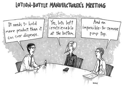 Drawing - Lotion-bottle Manufacturers Meeting by Teresa Burns Parkhurst