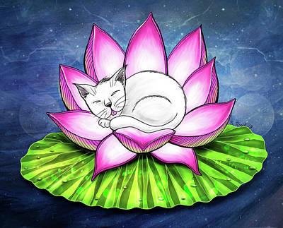 Mixed Media - Lotus Cat by Shawna Rowe