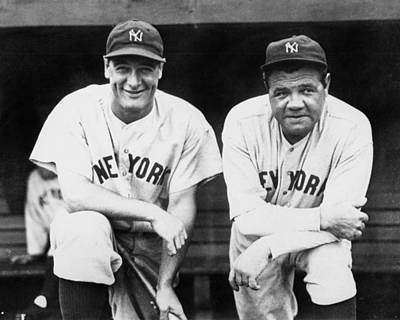 Photograph - Lou Gehrig And Babe Ruth Team Up For by New York Daily News Archive