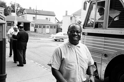 Photograph - Louis Armstrong Arrives At A Church by Michael Ochs Archives