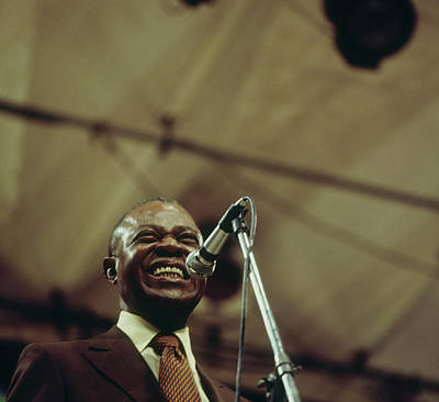 Photograph - Louis Armstrong On Stage At Newport by David Redfern
