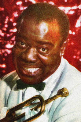 Painting - Louis Armstrong, Portrait by Vincent Monozlay