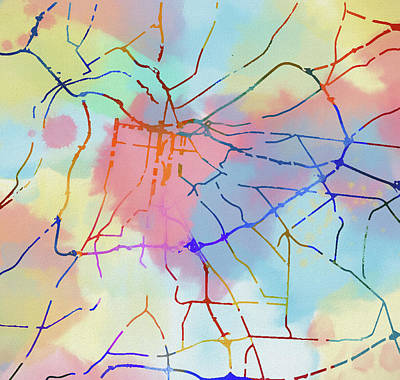 Painting - Louisville Colorful Street Map by Dan Sproul