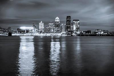 Photograph - Louisville Kentucky Downtown Skyline Night Monochrome Reflections by Gregory Ballos