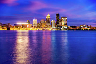 Photograph - Louisville Kentucky Downtown Skyline Night Reflections  by Gregory Ballos