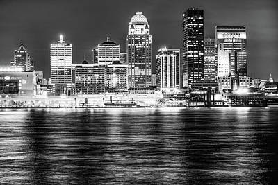 Photograph - Louisville Kentucky Skyline At Dusk - Black And White by Gregory Ballos