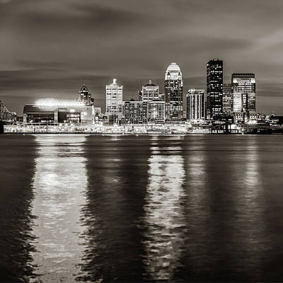 Photograph - Louisville Skyline Over The Ohio River - Sepia Square Format by Gregory Ballos