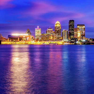 Royalty-Free and Rights-Managed Images - Louisville Skyline Over the Ohio River - Square Format by Gregory Ballos