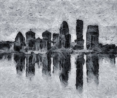 Mixed Media - Louisville Skyline Silhouette Reflection by Dan Sproul