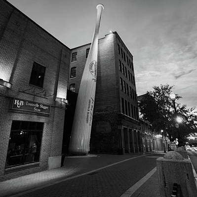 Photograph - Louisville Slugger Baseball Bat Museum Factory - Black And White by Gregory Ballos