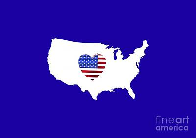 Digital Art - Love America Map by Barefoot Bodeez Art