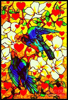 Glass Art - Love Birds In The Love Tree With Hibiscus by Peter Gumaer Ogden and Louis Comfort Tiffany