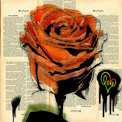 Painting - Love Is A Peachy Rose Graffiti And Spray Painting Street Art 48x48 by Robert R Splashy Art Abstract Paintings