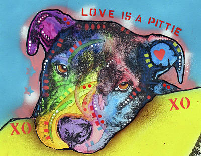 Painting - Love Is A Pittie Xo Xo by Dean Russo Art