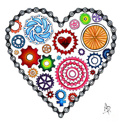 Painting - Love Makes The World Go Round Cycling Biking Painting Original Heart Art By Megan Duncanson by Megan Duncanson