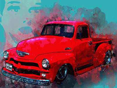 Digital Art - Love Me Love My 54 Chevy Pickup Truck by Chas Sinklier