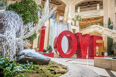 Photograph - Love Sign Installation At Christmas In Las Vegas by Alex Grichenko