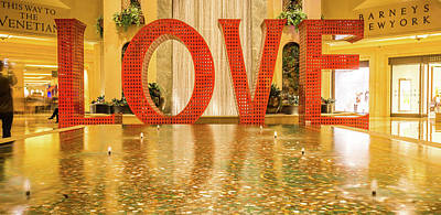 Photograph - Love Sign Installation At Palazzo Las Vegas by Alex Grichenko