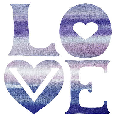 Painting - Love Sign Soft Blue Watercolor Silhouette Letters Hea by Irina Sztukowski