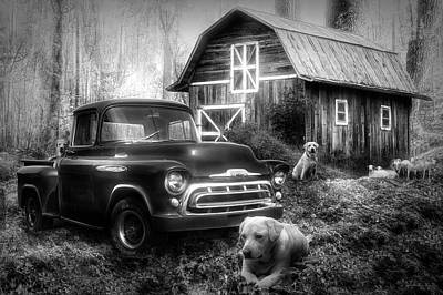 Photograph - Love That Old Truck At Springtime Black And White by Debra and Dave Vanderlaan