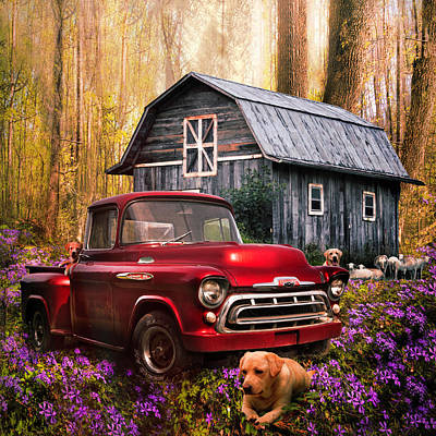 Photograph - Love That Old Truck At Springtime In Early Evening In Square by Debra and Dave Vanderlaan