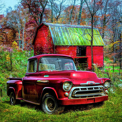 Photograph - Love That Red 1957 Chevy Truck In Hdr Detail by Debra and Dave Vanderlaan