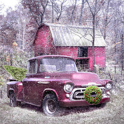 Photograph - Love That Red 1957 Chevy Truck In The Snow by Debra and Dave Vanderlaan