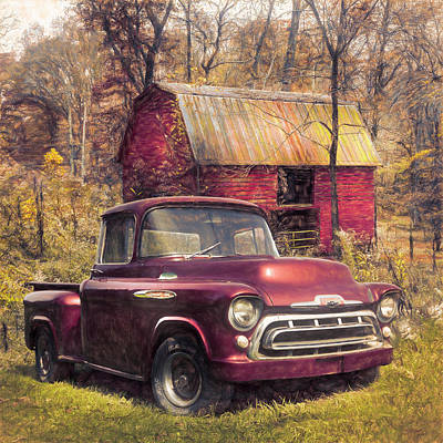 Photograph - Love That Red 1957 Chevy Truck Oil Painting by Debra and Dave Vanderlaan