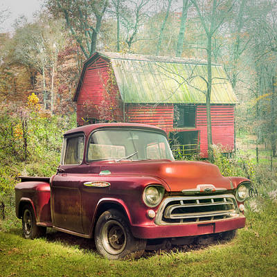 Photograph - Love That Red 1957 Chevy Truck On A Misty Morning by Debra and Dave Vanderlaan