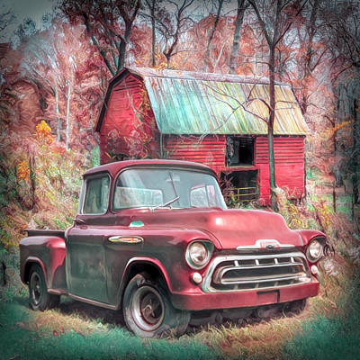 Photograph - Love That Red 1957 Chevy Truck Soft Painting by Debra and Dave Vanderlaan