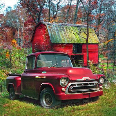 Photograph - Love That Red 1957 Chevy Truck Watercolor Painting by Debra and Dave Vanderlaan