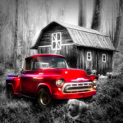 Photograph - Love That Red Truck At Springtime Black And White In Square by Debra and Dave Vanderlaan