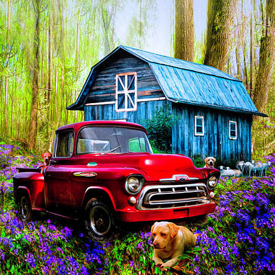 Photograph - Love That Red Truck At Springtime In Square by Debra and Dave Vanderlaan