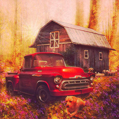 Photograph - Love That Red Truck At Springtime Postcard In Square by Debra and Dave Vanderlaan