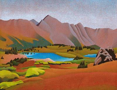 Drawing - Loveland Pass Lakes by Dan Miller