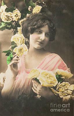 Katharine Hepburn - Lovely girl with roses in 1913 by Patricia Hofmeester