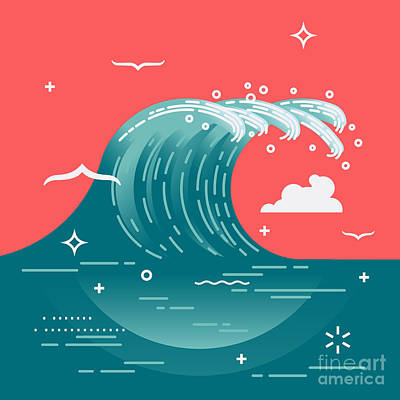 Lovely Vector Background On Large Ocean Art Print by Mascha Tace