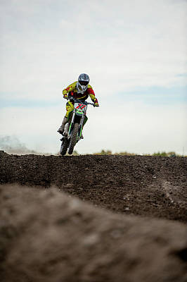 Photograph - Low Angle View Of Motocross Racer On by Ascent Xmedia