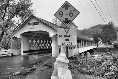 Photograph - Low Clearance At The Ashuelot Covered Bridge Black And White by Adam Jewell