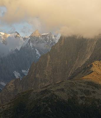 Photograph - Low Cloud Shrouds The Grepon And Grand Jorasses by Stephen Taylor