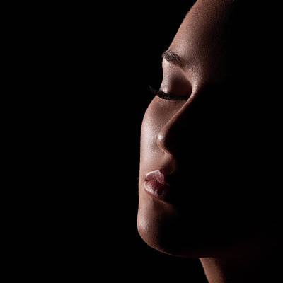 Photograph - Low Key Portrait Of Sensual Woman by Miljko